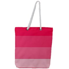 Pink Scarlet Gradient Stripes Pattern Full Print Rope Handle Tote (large)