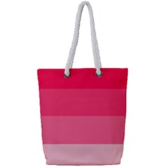 Pink Scarlet Gradient Stripes Pattern Full Print Rope Handle Tote (small)