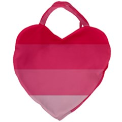 Pink Scarlet Gradient Stripes Pattern Giant Heart Shaped Tote