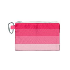 Pink Scarlet Gradient Stripes Pattern Canvas Cosmetic Bag (small)