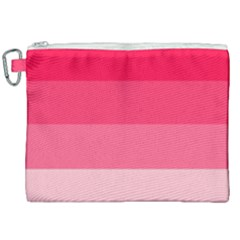 Pink Scarlet Gradient Stripes Pattern Canvas Cosmetic Bag (xxl)
