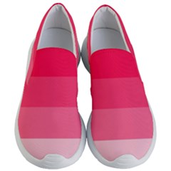 Pink Scarlet Gradient Stripes Pattern Women s Lightweight Slip Ons