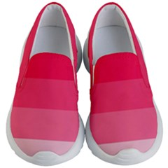 Pink Scarlet Gradient Stripes Pattern Kid s Lightweight Slip Ons
