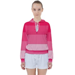 Pink Scarlet Gradient Stripes Pattern Women s Tie Up Sweat