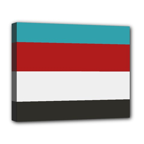 Dark Turquoise Deep Red Gray Elegant Striped Pattern Deluxe Canvas 20  X 16