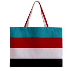 Dark Turquoise Deep Red Gray Elegant Striped Pattern Zipper Mini Tote Bag