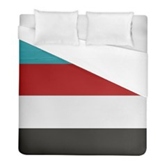 Dark Turquoise Deep Red Gray Elegant Striped Pattern Duvet Cover (full/ Double Size)