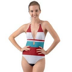 Dark Turquoise Deep Red Gray Elegant Striped Pattern Halter Cut Out One Piece Swimsuit