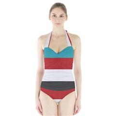 Dark Turquoise Deep Red Gray Elegant Striped Pattern Halter Swimsuit