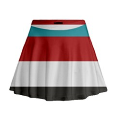 Dark Turquoise Deep Red Gray Elegant Striped Pattern Mini Flare Skirt