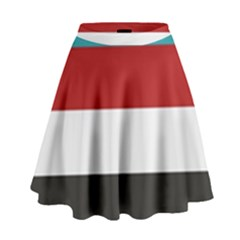 Dark Turquoise Deep Red Gray Elegant Striped Pattern High Waist Skirt by yoursparklingshop