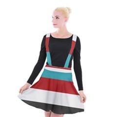 Dark Turquoise Deep Red Gray Elegant Striped Pattern Suspender Skater Skirt