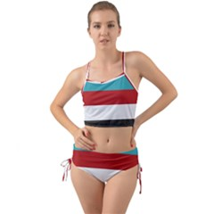 Dark Turquoise Deep Red Gray Elegant Striped Pattern Mini Tank Bikini Set