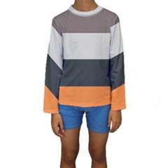 Orange Sand Charcoal Stripes Pattern Striped Elegant Kids  Long Sleeve Swimwear