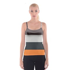 Orange Sand Charcoal Stripes Pattern Striped Elegant Spaghetti Strap Top