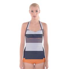 Orange Sand Charcoal Stripes Pattern Striped Elegant Boyleg Halter Swimsuit