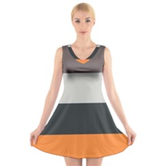 Orange Sand Charcoal Stripes Pattern Striped Elegant V Neck Sleeveless Dress