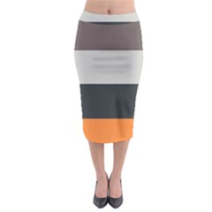 Orange Sand Charcoal Stripes Pattern Striped Elegant Midi Pencil Skirt by yoursparklingshop