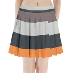 Orange Sand Charcoal Stripes Pattern Striped Elegant Pleated Mini Skirt