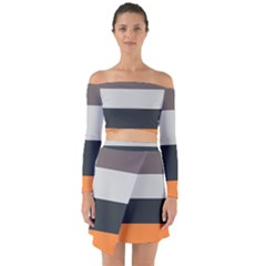 Orange Sand Charcoal Stripes Pattern Striped Elegant Off Shoulder Top With Skirt Set