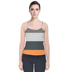 Orange Sand Charcoal Stripes Pattern Striped Elegant Velvet Spaghetti Strap Top