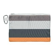 Orange Sand Charcoal Stripes Pattern Striped Elegant Canvas Cosmetic Bag (large) by yoursparklingshop
