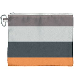 Orange Sand Charcoal Stripes Pattern Striped Elegant Canvas Cosmetic Bag (xxxl) by yoursparklingshop