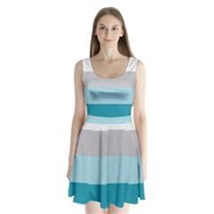 Blue Gray Striped Pattern Horizontal Stripes Split Back Mini Dress
