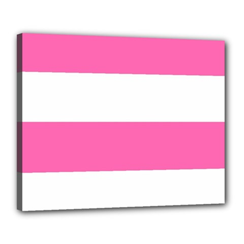 Horizontal Pink White Stripe Pattern Striped Canvas 20  X 16  by yoursparklingshop