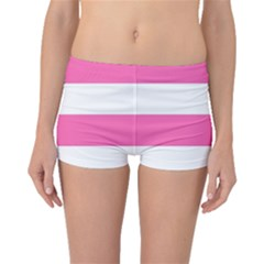Horizontal Pink White Stripe Pattern Striped Boyleg Bikini Bottoms