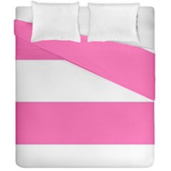 Horizontal Pink White Stripe Pattern Striped Duvet Cover Double Side (california King Size) by yoursparklingshop