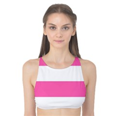 Horizontal Pink White Stripe Pattern Striped Tank Bikini Top by yoursparklingshop