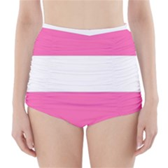 Horizontal Pink White Stripe Pattern Striped High Waisted Bikini Bottoms