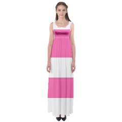 Horizontal Pink White Stripe Pattern Striped Empire Waist Maxi Dress