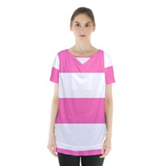 Horizontal Pink White Stripe Pattern Striped Skirt Hem Sports Top by yoursparklingshop