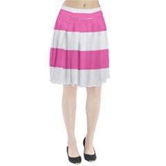Horizontal Pink White Stripe Pattern Striped Pleated Skirt