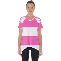 Horizontal Pink White Stripe Pattern Striped Cut Out Side Drop Tee
