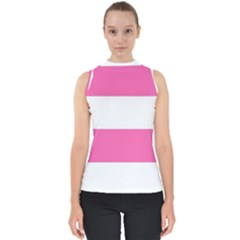 Horizontal Pink White Stripe Pattern Striped Shell Top