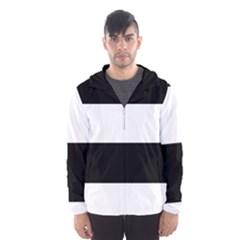 Black And White Striped Pattern Stripes Horizontal Hooded Wind Breaker (men)