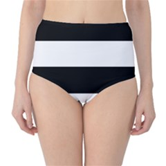 Black And White Striped Pattern Stripes Horizontal High Waist Bikini Bottoms