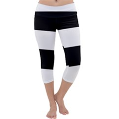 Black And White Striped Pattern Stripes Horizontal Capri Yoga Leggings