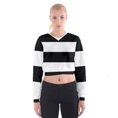 Black And White Striped Pattern Stripes Horizontal Cropped Sweatshirt