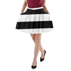 Black And White Striped Pattern Stripes Horizontal A Line Pocket Skirt