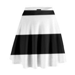 Black And White Striped Pattern Stripes Horizontal High Waist Skirt