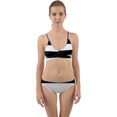 Black And White Striped Pattern Stripes Horizontal Wrap Around Bikini Set