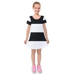 Black And White Striped Pattern Stripes Horizontal Kids  Short Sleeve Velvet Dress