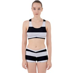 Black And White Striped Pattern Stripes Horizontal Work It Out Gym Set