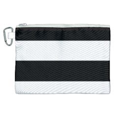 Black And White Striped Pattern Stripes Horizontal Canvas Cosmetic Bag (xl)