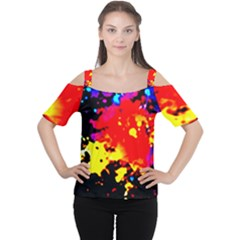Colorfulpaintsptter Cutout Shoulder Tee