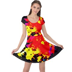 Colorfulpaintsptter Cap Sleeve Dress